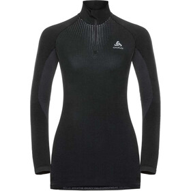 Odlo Performance Warm Turtle Neck LS Half Zip Shirt Women, black/odlo concrete grey